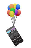 Servers flying away by balloons illustration Stock Image