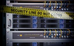 Servers and hardware room computer technology security concept. Photo Royalty Free Stock Photo