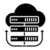 Servers network - cloud icon, vector illustration, black sign on isolated background Stock Photo