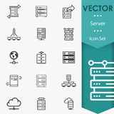 Server icons vector. Servers, network, database data analytics icons set Royalty Free Stock Photos