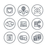 Servers, networks, cloud solutions line icons Stock Images