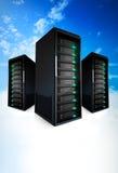 3 servers op een wolk Stock Foto's