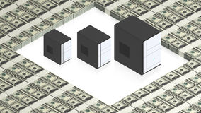 Servers on paper dollars. Part of isometric collections of animated objects for for use in presentations, manuals, design, etc royalty free illustration