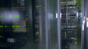 Servers rack in a global Data Center. 4K. stock footage