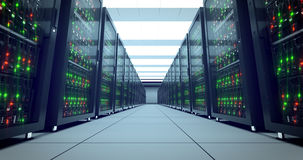 Servers racks. Modern datacenter. Cloud computing. 4k UHD