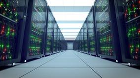 Servers racks. Modern datacenter. Cloud computing. 8k UHD