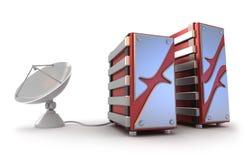 Servers and satellite antenna Stock Photos