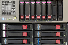 Servers stack with hard drives in a datacenter. For backup and data storage Stock Photo
