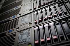 Servers stack with hard drives in a datacenter Stock Photo