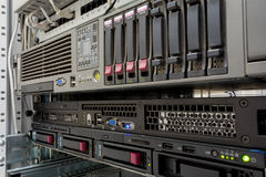 Servers stack with hard drives in a datacenter Stock Photography