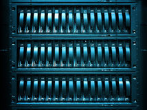 Servers stack with hard drives in datacenter for backup and data storage. Servers stack with hard drives in a datacenter for backup and data storage Royalty Free Stock Photography