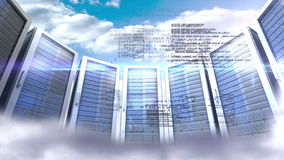 Servers towers on cloudy sky background stock video footage