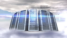 Servers towers on cloudy sky background stock footage
