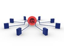 Servers und eMail Stockfoto