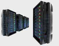 Servers with wireframe. A 3d illustration of high tech servers on an isolated background with blue wireframe Royalty Free Stock Images