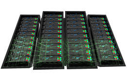 Servers with wireframe. Stock Photo