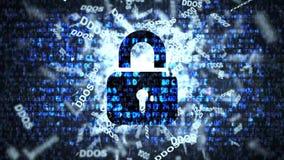 Serverskydd mot DDOS-attacker blå i lager skärm för koddator djupt stock illustrationer