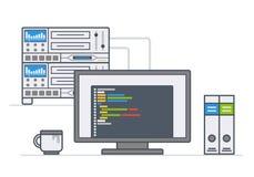 Serverutrustning arbetsplatssystemadministratör, programmerare stock illustrationer