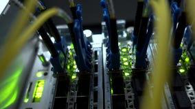 Serverzaal, de audiokabel van het Serverrek Optische vezel stock footage