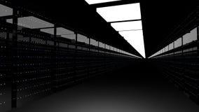 Serverzaal Gegevenscentrum 3d geef terug Stock Illustratie