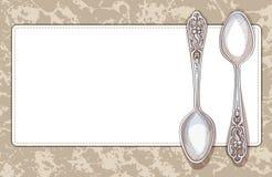 Servet en theelepeltjes Decoratief kader in retro stijl Royalty-vrije Stock Afbeeldingen