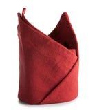 Servett för Hemstitched röd linnematställe Arkivfoto