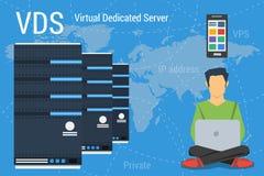 Serveur dédié virtuel sur le bleu illustration libre de droits