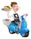 Serveur de bande dessinée sur le scooter broyé du noir livrant Shawarma Image libre de droits
