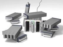 Serveur de données avec des beaucoup disque dur sur l'étage illustration de vecteur