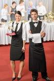 Serveur de service de restauration, événement d'affaires de serveuse photographie stock