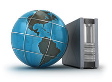 Serveur et globe, concept 3D Photographie stock