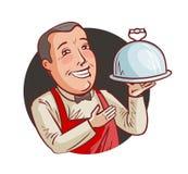 Serveur heureux avec le plateau à disposition Restaurant, restaurant, concept de nourriture Illustration de vecteur de dessin ani illustration libre de droits