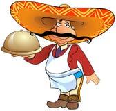 Serveur mexicain avec un plateau Photo stock