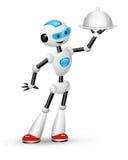 Serveur mignon de robot avec la cloche illustration stock