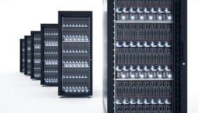 Serveurs d'isolement dans le datacenter Stockage de données de calcul de nuage 3d Photos libres de droits