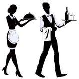 Serveurs de silhouette Image stock