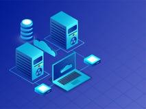Serveurs isométriques et ordinateur portable liés au serveur de nuage pour Dat illustration libre de droits