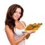 Serveurs portant des plats avec de la viande sur le blanc Image stock