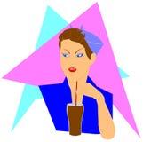 Serveuse avec le fond de boisson non alcoolisée Images stock