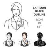 Serveuse de restaurant avec une icône d'insigne dans le style de bande dessinée d'isolement sur le fond blanc Vecteur d'actions d illustration libre de droits