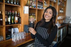 Serveuse de sourire secouant le cocktail au compteur de barre dans la barre Image libre de droits
