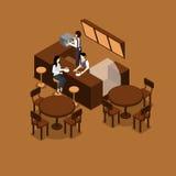 Serveuse Isometric Illustration Image libre de droits