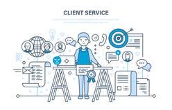 Serviço ao cliente, resolução de problemas, comunicação e comunicação, suporte laboral Imagem de Stock