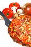 Serviço da fatia da pizza Imagem de Stock Royalty Free