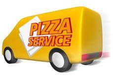 Serviço da pizza da camionete de entrega ilustração royalty free