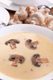 Serviço da sopa do creme do cogumelo fotografia de stock