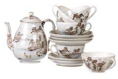 Serviço de chá da porcelana empilhado junto fotos de stock royalty free