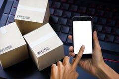 Serviço de compra da entrega em linha do comércio eletrônico do conceito da compra Squa Foto de Stock Royalty Free