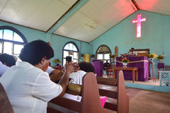 Serviço de domingo na igreja metodista em Fiji Fotografia de Stock