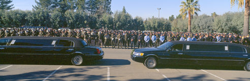 Serviço de funeral para o oficial de polícia, fotos de stock royalty free